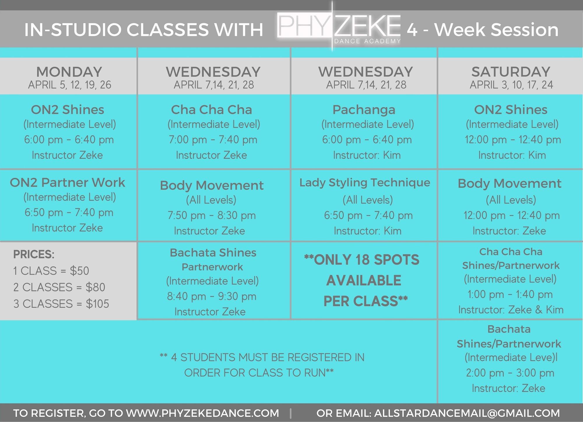 april class schedule